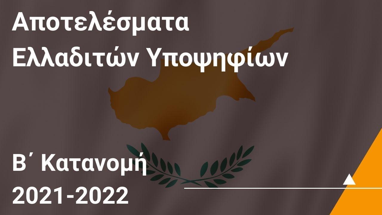 Αποτελέσματα Ελλαδιτών Υποψηφίων που έχουν εξασφαλίσει θέση στη Β' Κατανομή Θέσεων για το 2021/22